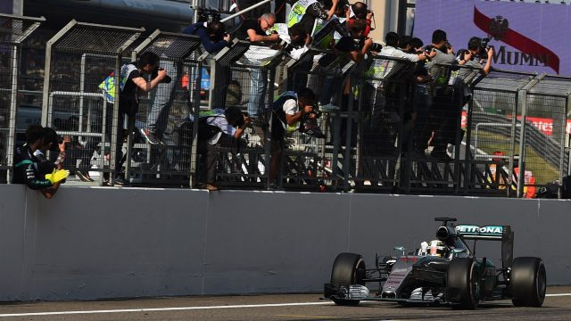 Race winner Lewis Hamilton (GBR) Mercedes AMG F1 W06 crosses line at Formula One World Championship, Rd3, Chinese Grand Prix, Race, Shanghai, China, Sunday 12 April 2015. &copy&#x3b; Sutton Motorsport Images