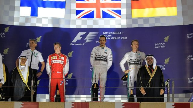 (L to R): Kimi Raikkonen (FIN) Ferrari, race winner Lewis Hamilton (GBR) Mercedes AMG F1 and Nico Rosberg (GER) Mercedes AMG F1 celebrate on the podium at Formula One World Championship, Rd4, Bahrain Grand Prix Race, Bahrain International Circuit, Sakhir, Bahrain, Sunday 19  April 2015. &copy&#x3b; Sutton Motorsport Images