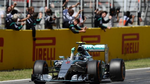 Race winner Nico Rosberg (GER) Mercedes AMG F1 W06 crosses the line at Formula One World Championship, Rd5, Spanish Grand Prix Race, Barcelona, Spain, Sunday 10 May 2015. &copy&#x3b; Sutton Motorsport Images