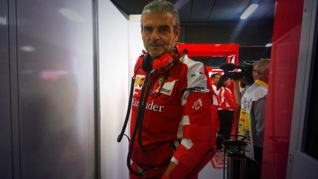 Ferrari team principal Maurizio Arrivabene wears a #27 armband to remember former driver Gilles Villeneuve, who died 33 years ago, Barcelona, Spain, May 8, 2015 &copy&#x3b; Ferrari