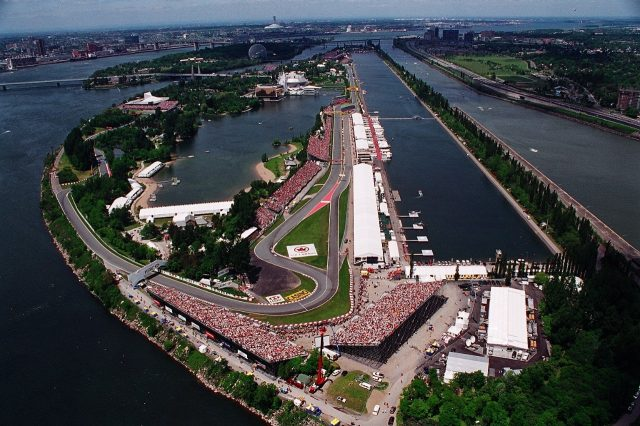 Aerial view over the Circuit Gilles Villeneuve, situated on a man-made island in the centre of the St. Lawrence River in Montreal.