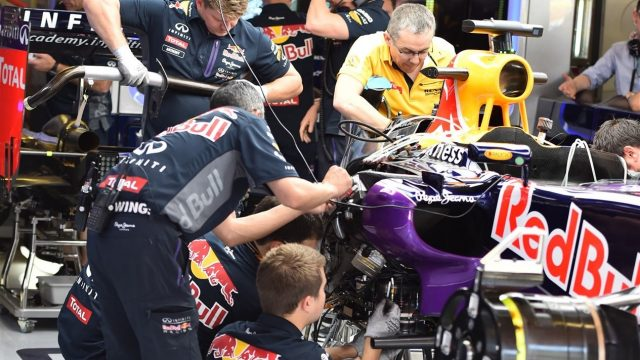 The car of Daniel Ricciardo (AUS) Red Bull Racing RB11 is worked on in the garage at Formula One World Championship, Rd5, Spanish Grand Prix Practice, Barcelona, Spain, Friday 8 May 2015. &copy&#x3b; Sutton Motorsport Images