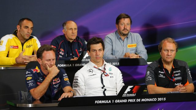 (L to R): Cyril Abiteboul (FRA) Renault Sport, Franz Tost (AUT) Scuderia Toro Rosso Team Principal, Paul Hembery (GBR) Pirelli Motorsport Director, Christian Horner (GBR) Red Bull Racing Team Principal, Toto Wolff (AUT) Mercedes AMG F1 Director of Motorsport, and Robert Fearnley (GBR) Force India F1 Team in the Press Conference at Formula One World Championship, Rd6, Monaco Grand Prix Practice, Monte-Carlo, Monaco, Thursday 21  May 2015. &copy&#x3b; Sutton Motorsport Images