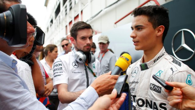 Pascal Wehrlein (GER) Mercedes Test and Reserve Driver talks with the media at Formula One Testing, Day Two, Barcelona, Spain, 13 May 2015. &copy&#x3b; Sutton Motorsport Images