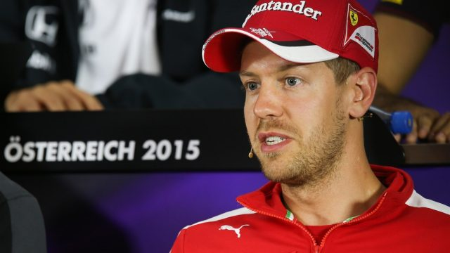 Sebastian Vettel (GER) Ferrari in the press conference at Formula One World Championship, Rd8, Austrian Grand Prix, Preparations, Spielberg, Austria, Thursday 18 June 2015. &copy&#x3b; Sutton Motorsport Images