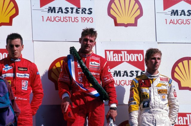 Jos Verstappen (NLD) centre on the podium at the 1993 F3 Masters at Zandvoort &copy&#x3b; ©Sutton Motorsport Images