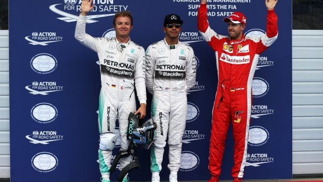 Nico Rosberg (GER) Mercedes AMG F1, pole sitter Lewis Hamilton (GBR) Mercedes AMG F1 and Sebastian Vettel (GER) Ferrari celebrate in parc ferme at Formula One World Championship, Rd8, Austrian Grand Prix, Qualifying, Spielberg, Austria, Saturday 20 June 2015. &copy&#x3b; Sutton Motorsport Images