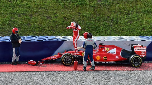 Antonio Fuoco (ITA) Ferrari SF15-T crashed at Formula One Testing, Day One, Spielberg, Austria, Tuesday 23 June 2015. &copy&#x3b; Sutton Motorsport Images
