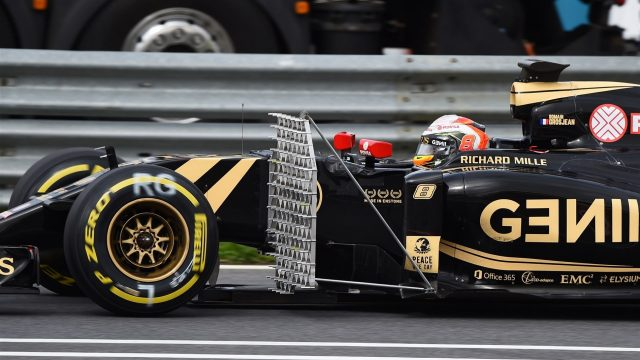 Romain Grosjean (FRA) Lotus E23 Hybrid with aero sensor at Formula One Testing, Day One, Spielberg, Austria, Tuesday 23 June 2015. &copy&#x3b; Sutton Motorsport Images