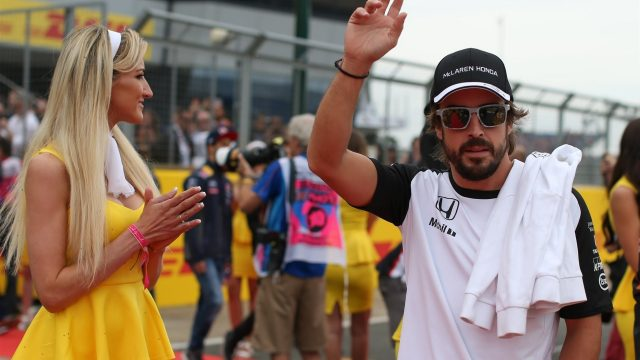 Fernando Alonso (ESP) McLaren at the drivers parade at Formula One World Championship, Rd9, British Grand Prix, Race, Silverstone, England, Sunday 5 July 2015. &copy&#x3b; Sutton Motorsport Images