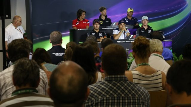 (L to R) Roberto Merhi (ESP) Marussia, Sergio Perez (MEX) Force India, Romain Grosjean (FRA) Lotus F1, Felipe Massa (BRA) Williams, Felipe Nasr (BRA) Sauber and Nico Hulkenberg (GER) Force India F1 in the press conference at Formula One World Championship, Rd10, Hungarian Grand Prix, Preparations, Hungaroring, Hungary, Thursday 23 July 2015. &copy&#x3b; Sutton Motorsport Images