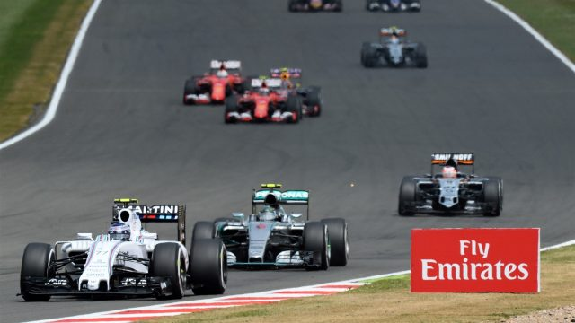 Felipe Massa (BRA) Williams FW37 leads at the start of the race at Formula One World Championship, Rd9, British Grand Prix, Race, Silverstone, England, Sunday 5 July 2015. &copy&#x3b; Sutton Motorsport Images