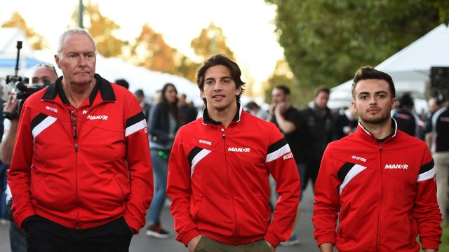 John Booth (GBR) Marussia Team Principal, Roberto Merhi (ESP) Marussia and Will Stevens (GBR) Marussia at Formula One World Championship, Rd1, Australian Grand Prix, Practice, Albert Park, Melbourne, Australia, Friday 13 March 2015.