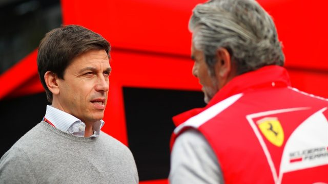 Maurizio Arrivabene (ITA) Ferrari Team Principal and Toto Wolff (AUT) Mercedes AMG F1 Director of Motorsport at Formula One World Championship, Rd8, Austrian Grand Prix, Preparations, Spielberg, Austria, Thursday 18 June 2015. &copy&#x3b; Sutton Motorsport Images