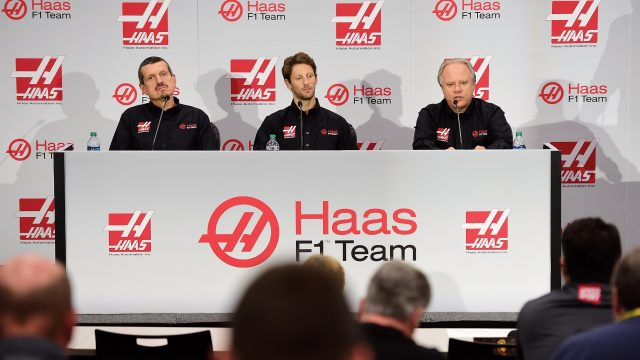 (R-L) Gene Haas, owner of Haas F1 Team, speaks with the media as Romain Grosjean of France and Guenther Steiner, team principal of Haas F1 Team, look on as Haas F1 Team announces Grosjean as their driver for the upcoming 2016 Formula 1 season on September 29, 2015 in Kannapolis, North Carolina &copy&#x3b; 2015 Getty Images