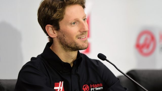 Romain Grosjean of France speaks during a press conference as Haas F1 Team announces Grosjean as their driver for the upcoming 2016 Formula 1 season on September 29, 2015 in Kannapolis, North Carolina &copy&#x3b; 2015 Getty Images
