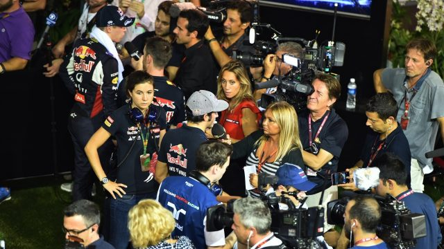 Carlos Sainz (ESP) Scuderia Toro Rosso and Max Verstappen (NDL) Scuderia Toro Rosso talk with the media at Formula One World Championship, Rd13, Singapore Grand Prix, Qualifying, Marina Bay Street Circuit, Singapore, Saturday 19  September 2015. &copy&#x3b; Sutton Motorsport Images