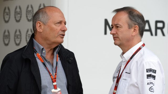 Ron Dennis (GBR) McLaren Executive Chairman and Jonathan Neale (GBR) McLaren Managing Director at Formula One World Championship, Rd9, British Grand Prix, Race, Silverstone, England, Sunday 5 July 2015. &copy&#x3b; Sutton Motorsport Images