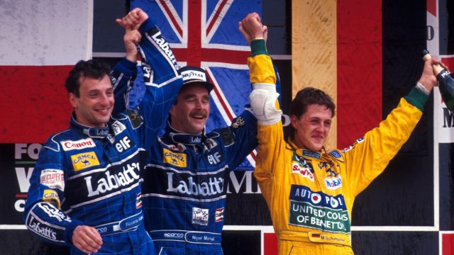 The podium in Mexico in 1992 (l to r): Riccardo Patrese (Williams, second)&#x3b; Nigel Mansell (Williams, winner)&#x3b; Michael Schumacher (Benetton, third). &copy&#x3b; Sutton Motorsport Images
