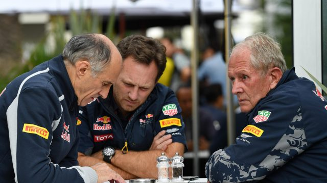 Franz Tost (AUT) Scuderia Toro Rosso Team Principal, Christian Horner (GBR) Red Bull Racing Team Principal and Dr Helmut Marko (AUT) Red Bull Motorsport Consultant at Formula One World Championship, Rd19, Mexican Grand Prix, Practice, Circuit Hermanos Rodriguez, Mexico City, Mexico, Friday 28 October 2016. &copy&#x3b; Sutton Images