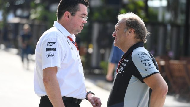Eric Boullier (FRA) McLaren Racing Director and Robert Fernley (GBR) Force India F1 Team Deputy Team Principal at Formula One World Championship, Rd16, Malaysian Grand Prix, Qualifying, Sepang, Malaysia, Saturday 1 October 2016. &copy&#x3b; Sutton Images