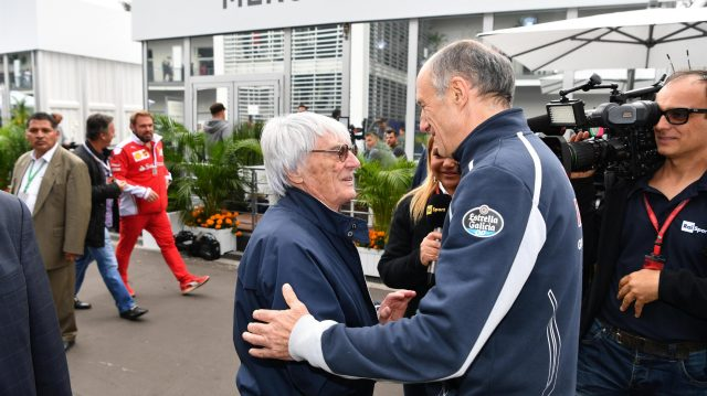 Bernie Ecclestone (GBR) CEO Formula One Group (FOM) and Franz Tost (AUT) Scuderia Toro Rosso Team Principal at Formula One World Championship, Rd19, Mexican Grand Prix, Practice, Circuit Hermanos Rodriguez, Mexico City, Mexico, Friday 28 October 2016. &copy&#x3b; Sutton Images
