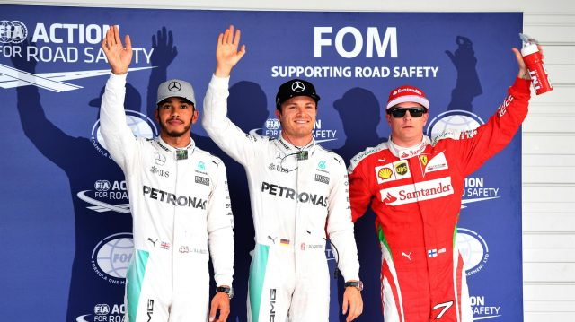 (L to R): Lewis Hamilton (GBR) Mercedes AMG F1, pole sitter Nico Rosberg (GER) Mercedes AMG F1 and Kimi Raikkonen (FIN) Ferrari celebrate in parc ferme at Formula One World Championship, Rd17, Japanese Grand Prix, Qualifying, Suzuka, Japan, Saturday 8 October 2016. &copy&#x3b; Sutton Images