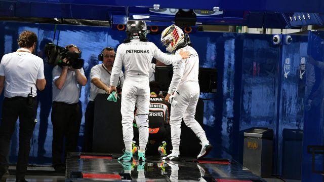 Pole sitter Lewis Hamilton (GBR) Mercedes AMG F1 and Nico Rosberg (GER) Mercedes AMG F1 in parc ferme at Formula One World Championship, Rd17, Japanese Grand Prix, Qualifying, Suzuka, Japan, Saturday 8 October 2016. &copy&#x3b; Sutton Images
