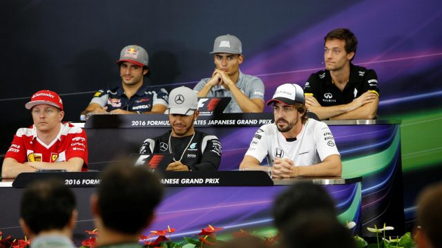 (L to R): Carlos Sainz jr (ESP) Scuderia Toro Rosso, Pascal Wehrlein (GER) Manor Racing, Jolyon Palmer (GBR) Renault Sport F1 Team, Kimi Raikkonen (FIN) Ferrari, Lewis Hamilton (GBR) Mercedes AMG F1 and Fernando Alonso (ESP) McLaren in the Press Conference at Formula One World Championship, Rd17, Japanese Grand Prix, Preparations, Suzuka, Japan, Thursday 6 October 2016. &copy&#x3b; Sutton Images