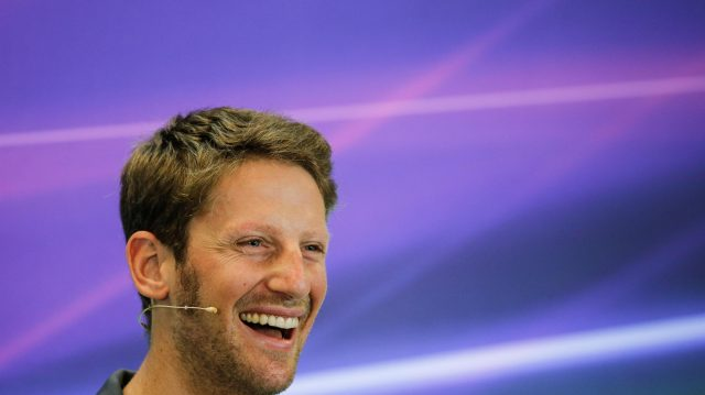 Romain Grosjean (FRA) Haas F1 in the Press Conference at Formula One World Championship, Rd18, United States Grand Prix, Preparations, Circuit of the Americas, Austin, Texas, USA, Thursday 20 October 2016. &copy&#x3b; Sutton Images