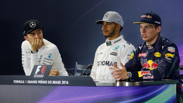 Nico Rosberg (GER) Mercedes AMG F1, Lewis Hamilton (GBR) Mercedes AMG F1 and Max Verstappen (NED) Red Bull Racing in the Press Conference at Formula One World Championship, Rd20, Brazilian Grand Prix, Race, Interlagos, Sao Paulo, Brazil, Sunday 13 November 2016. &copy&#x3b; Sutton Images