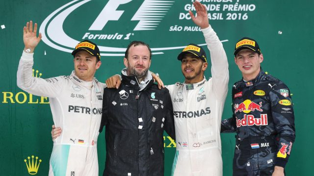 (L to R): Nico Rosberg (GER) Mercedes AMG F1, Bradley Lord (GBR) Mercedes AMG F1 Communication Manager, Lewis Hamilton (GBR) Mercedes AMG F1 and Max Verstappen (NED) Red Bull Racing celebrate on the podium at Formula One World Championship, Rd20, Brazilian Grand Prix, Race, Interlagos, Sao Paulo, Brazil, Sunday 13 November 2016. &copy&#x3b; Sutton Images
