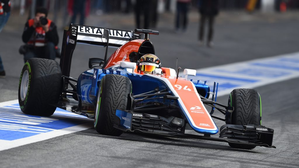 Manor%20MRT05%20breaks%20cover%20in%20Barcelona