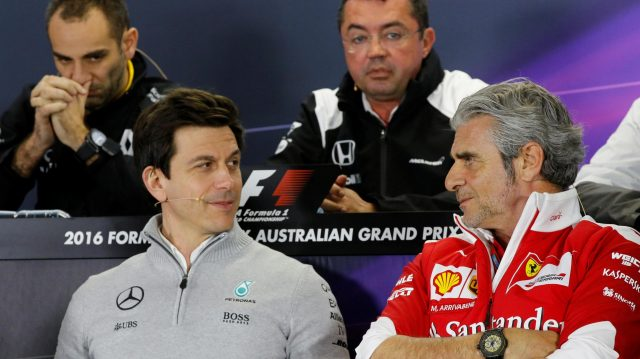 Toto Wolff (AUT) Mercedes AMG F1 Director of Motorsport and Maurizio Arrivabene (ITA) Ferrari Team Principal in the Press Conference at Formula One World Championship, Rd1, Australian Grand Prix, Practice, Albert Park, Melbourne, Australia, Friday 18 March 2016. &copy&#x3b; Sutton Motorsport Images