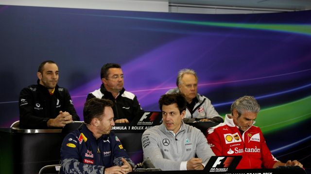 (L to R): Cyril Abiteboul (FRA) Renault Sport F1 Managing Director, Eric Boullier (FRA) McLaren Racing Director, Gene Haas (USA) Founder and Chairman, Haas F1 Team, Christian Horner (GBR) Red Bull Racing Team Principal, Toto Wolff (AUT) Mercedes AMG F1 Director of Motorsport and Maurizio Arrivabene (ITA) Ferrari Team Principal in the Press Conference at Formula One World Championship, Rd1, Australian Grand Prix, Practice, Albert Park, Melbourne, Australia, Friday 18 March 2016. &copy&#x3b; Sutton Motorsport Images