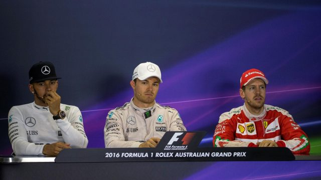 Lewis Hamilton (GBR) Mercedes AMG F1, Nico Rosberg (GER) Mercedes AMG F1 and Sebastian Vettel (GER) Scuderia Ferrari in the press conference at Formula One World Championship, Rd1, Australian Grand Prix, Race, Albert Park, Melbourne, Australia, Sunday 20 March 2016. &copy&#x3b; Sutton Motorsport Images