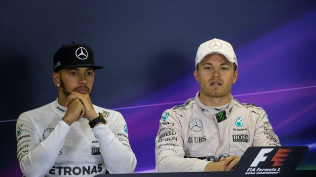 Lewis Hamilton (GBR) Mercedes AMG F1 and Nico Rosberg (GER) Mercedes AMG F1 in the press conference at Formula One World Championship, Rd1, Australian Grand Prix, Race, Albert Park, Melbourne, Australia, Sunday 20 March 2016. &copy&#x3b; Sutton Motorsport Images