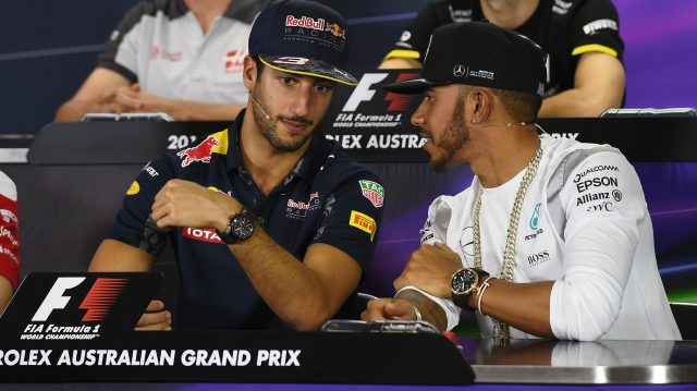 Daniel Ricciardo (AUS) Red Bull Racing and Lewis Hamilton (GBR) Mercedes AMG F1 in the press conference at Formula One World Championship, Rd1, Australian Grand Prix, Preparations, Albert Park, Melbourne, Australia, Thursday 17 March 2016. &copy&#x3b; Sutton Motorsport Images