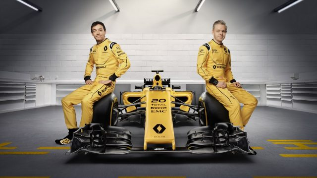 Renault R.S.16 with drivers Jolyon Palmer (L) and Kevin Magnussen (R). &copy Renault Sport F1