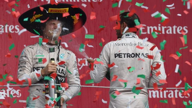 Race winner Nico Rosberg (GER) and Lewis Hamilton (GBR) celebrate on the podium, Circuit Hermanos Rodriguez, Mexico City, Mexico, Sunday 1 November 2015. &copy&#x3b; Sutton Motorsport Images