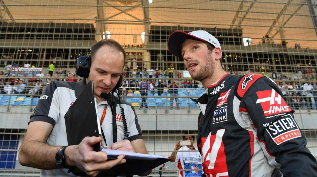 Romain Grosjean (FRA) Haas F1 on the grid at Formula One World Championship, Rd2, Bahrain Grand Prix Race, Bahrain International Circuit, Sakhir, Bahrain, Sunday 3 April 2016. &copy&#x3b; Sutton Motorsport Images