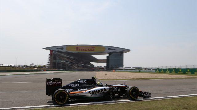 Sergio Perez (MEX) Force India VJM08 at Formula One World Championship, Rd3, Chinese Grand Prix, Qualifying, Shanghai, China, Saturday 11 April 2015. &copy&#x3b; Sutton Motorsport Images