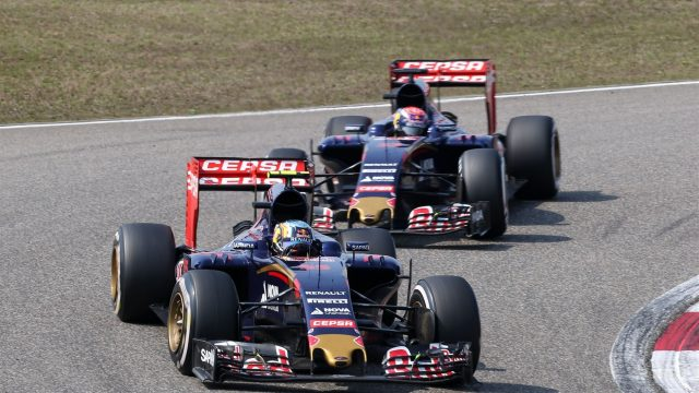 Carlos Sainz (ESP) Scuderia Toro Rosso STR10 leading Max Verstappen (NDL) Scuderia Toro Rosso STR10 at Formula One World Championship, Rd3, Chinese Grand Prix, Race, Shanghai, China, Sunday 12 April 2015. &copy&#x3b; Sutton Motorsport Images