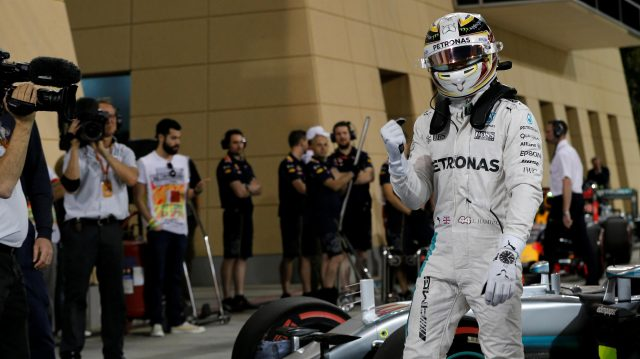 Pole sitter Lewis Hamilton (GBR) Mercedes AMG F1 celebrates in parc ferme at Formula One World Championship, Rd2, Bahrain Grand Prix Qualifying, Bahrain International Circuit, Sakhir, Bahrain, Saturday 2 April 2016. &copy&#x3b; Sutton Motorsport Images