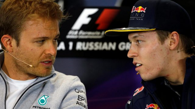 Nico Rosberg (GER) Mercedes AMG F1 and Daniil Kyvat (RUS) Red Bull Racing in the Press Conference at Formula One World Championship, Rd4, Russian Grand Prix, Preparations, Sochi Autodrom, Sochi, Krasnodar Krai, Russia, Thursday 28 April 2016. &copy&#x3b; Sutton Motorsport Images