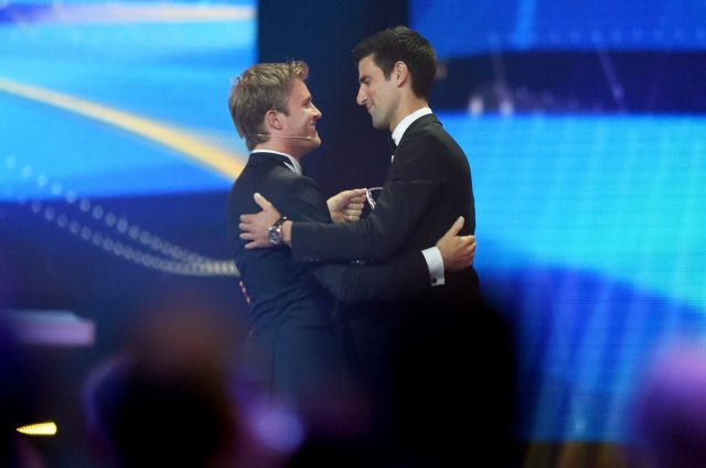 Nico Rosberg and Novak Djokovic during the 2016 Laureus World Sports Awards at the Messe Berlin on April 18, 2016 in Berlin, Germany. &copy&#x3b; 2016 Getty Images