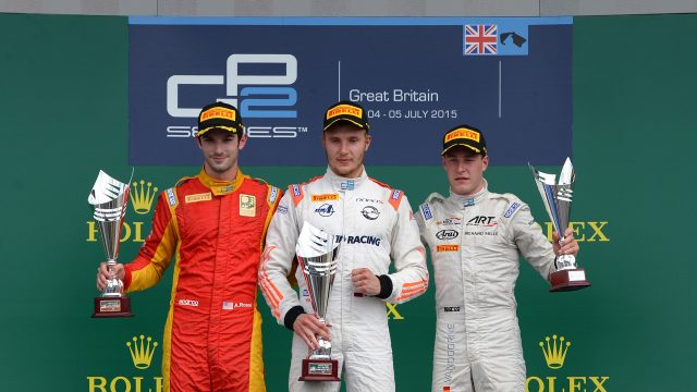 Podium (L to R): Second placed Alexander Rossi (USA) Racing Engineering, race winner Sergey Sirotkin (RUS) Rapax and third placed Stoffel Vandoorne (BEL) ART Grand Prix celebrate on the podium at GP2 Series, Rd5, Silverstone, Britain, 3-5 July 2015. &copy&#x3b; Sutton Motorsport Images