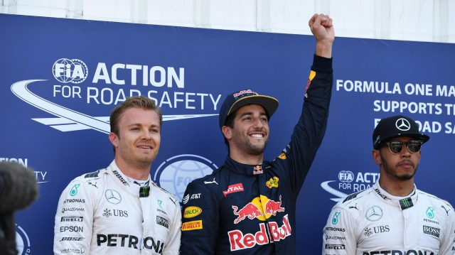 (L to R): Nico Rosberg (GER) Mercedes AMG F1, pole sitter Daniel Ricciardo (AUS) Red Bull Racing and Lewis Hamilton (GBR) Mercedes AMG F1 celebrate in parc ferme at Formula One World Championship, Rd6, Monaco Grand Prix, Qualifying, Monte-Carlo, Monaco, Saturday 28 May 2016. &copy&#x3b; Sutton Images