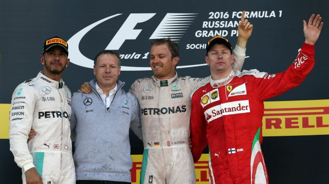 (L to R): Lewis Hamilton (GBR) Mercedes AMG F1, race winner Nico Rosberg (GER) Mercedes AMG F1 and Kimi Raikkonen (FIN) Ferrari celebrate on the podium at Formula One World Championship, Rd4, Russian Grand Prix, Race, Sochi Autodrom, Sochi, Krasnodar Krai, Russia, Sunday 1 May 2016. &copy&#x3b; Sutton Motorsport Images