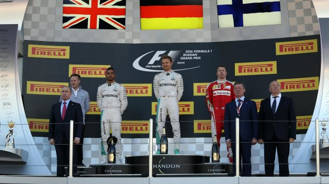 Race winner Nico Rosberg (GER) Mercedes AMG F1 and Vladimir Putin (RUS), President of Russia celebrate on the podium at Formula One World Championship, Rd4, Russian Grand Prix, Race, Sochi Autodrom, Sochi, Krasnodar Krai, Russia, Sunday 1 May 2016. &copy&#x3b; Sutton Motorsport Images